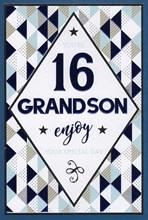 "ICG Grandson 16th Birthday Card - Dark Blue Text, Triangles & Tiny Stars 9"" x 6"""