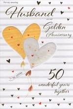 "ICG Husband Golden 50th Wedding Anniversary Card - Gold Text & Hearts 9"" x 6"""