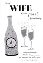 """ICG Wife Pearl 30th Wedding Anniversary Card - Silver Champagne & Flutes 9"""" x 6"""""""