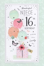 """ICG Niece 16th Birthday Card - Pink Gift Balloons Butterflies Silver Foil 9""""x6"""""""
