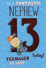 """ICG Nephew 13th Birthday Card - Young Boy, Bicycle, & Giant Red Numbers 9"""" x 6"""""""