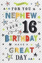 """ICG Nephew 16th Birthday Card - Multicoloured Writing and Silver Foil  9"""" x 6"""""""