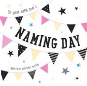 "ICG Naming Day Greetings Card - Pastel Text, Bunting & Big Stars 6.25"" x 6.25"""