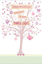 "Birth Of Baby Girl Greetings Card - Pink Glitter Tree, Hearts & Stars 9"" x 6"""