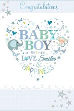 "Birth Of Baby Boy Greetings Card - Blue Monkey, Elephant & Glitter Stars 9"" x 6"""