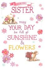 """Sister Birthday Card - Cute Bear & Bunny with Flowers & Glitter  9"""" x 6"""""""