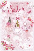 """Sister Birthday Card - Pink Perfume Bottle and Butterflies with Glitter 9x6"""""""