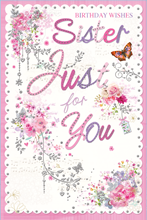 """Sister Birthday Card - Flowers Butterfly & Silver Foil Detail  9"""" x 6"""""""