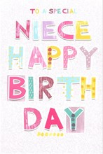 """Niece Birthday Card - Bright Patterned Pastel Text & Glitter Background 9"""" x 6"""""""
