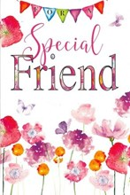 "Special Friend Birthday Card - Bright Poppies and Butterflies with Glitter 9""x6"""