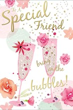 """Special Friend Birthday Card - Pink Champagne Flutes Roses with Gold Foil 9""""x6"""""""