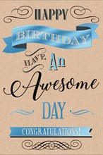 "Open Male Birthday Card - Brown Text, Blue Metallic Signs & Black Swirls 9"" x 6"""