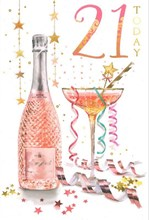 """Age 21 Female Birthday Card - Pink Glitter Numbers, Cocktail & Flowers 9"""" x 6"""""""