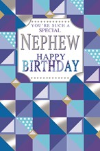 """Nephew Birthday Card - Blue Turquoise & Silver Pattern with Silver Foil 9"""" x 6"""""""
