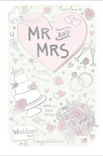 """Wedding Day Greetings Card - Pink Heart, Wedding Cake, Roses & Champagne 9"""" x 6"""""""