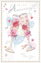 """Open Wedding Anniversary Card - Champagne Flutes, Pink Flowers & Hearts 9"""" x 6"""""""