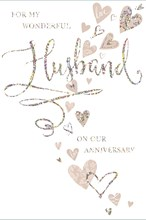 """Husband Wedding Anniversary Card - Beige Hearts With Silver Foiled Writing  9x6"""""""