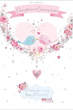 Daughter & Son-in-Law Anniversary Card - Love Birds Pink Heart Silver Foil 9x6""