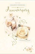 "Golden 50th Wedding Anniversary Card - White Rose Wine & Heart   9"" x 6"""