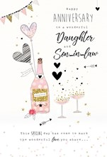 """ICG Daughter & Son-in-Law Wedding Anniversary Card - Champagne & Hearts 9"""" x 6"""""""