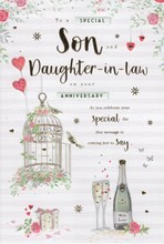 """ICG Son & Daughter-in-Law Anniversary Card - Birdcage & Champagne 9"""" x 6"""""""