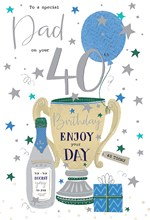 """ICG Dad 40th Birthday Card - Champagne and Trophy with Silver Foil 9"""" x 6"""""""