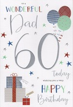 """ICG Dad 60th Birthday Card - 60 Today Gifts Balloons & Silver Foil Text 9"""" x 6"""""""