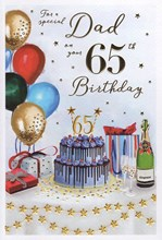 """ICG Dad 65th Birthday Card - Balloons Champagne and Cake with Gold Foil 9"""" x 6"""""""