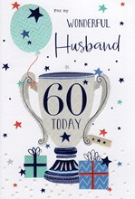 """ICG Husband 60th Birthday Card - 60 Today Trophy with Blue Foiled Text 9"""" x 6"""""""