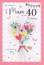 "ICG Mum 40th Birthday Card - Heart Balloons with Butterflies and Pink Foil 9""x6"""