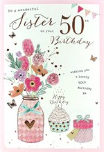 "ICG Sister 50th Birthday Card - Pink Flowers, Cake & Bronze Butterflies 9"" x 6"""