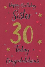 "ICG Sister 30th Birthday Card - Red Background Gold Glitter '30' 9""x6"""