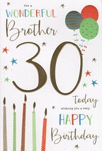 """ICG Brother 30th Birthday Card - Candles & Balloons Gold Foil Text 9"""" x 6"""""""
