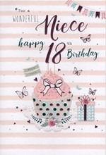 """ICG Niece 18th Birthday Card - Pink Cupcake, Gift, Roses & Butterflies 9"""" x 6"""""""
