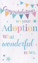"""ICG On Your Adoption Greetings Card - Pale Pastel Bunting & Stars 7.75"""" x 4.75"""""""