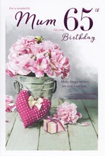 "ICG Mum 65th Birthday Card - Pink Carnations, Big Heart & Little Present 9"" x 6"""