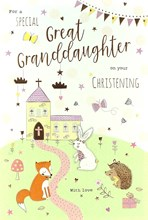 "ICG Great Granddaughter's Christening Day Card - Church, Animals & Stars 9"" x 6"""