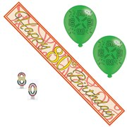Age 80 Unisex Birthday Party Pack - 80th Banner, Balloons, Number Candles