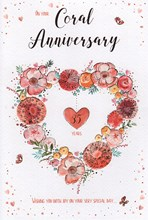 """ICG Coral 35th Wedding Anniversary Card -Floral Heart and Rose Gold Foil 9"""" x 6"""""""
