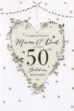 "ICG Mum & Dad Golden 50th Wedding Anniversary Card - Gold Roses & Spots 9"" x 6"""