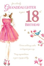"""Granddaughter 18th Birthday Card - 18 Today Woman, Pink Flowers & Bird 9"""" x 6"""""""