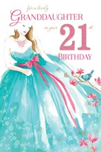 """Granddaughter 21st Birthday Card - 21 Today Woman, Blue Dress & Flowers 9"""" x 6"""""""