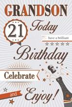 "Grandson 21st Birthday Card - 21 Today Black Champagne, Stripes & Stars 9"" x 6"""