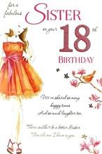 "Sister 18th Birthday Card - Young Woman, Orange Dress, Bird & Flowers 9"" x 6"""