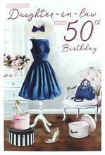 """ICG Daughter-in-Law 50th Birthday Card - Navy Blue Dress, Chair & Heels 9"""" x 6"""""""