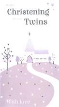 "ICG Twins Christening Day Greetings Card - Grey Church, Trees & Flowers 9"" x 5"""