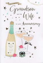 """ICG Grandson & Wife Anniversary Card - Champagne, Present & Pink Roses 9"""" x 6"""""""