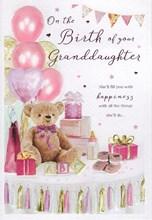 "ICG Birth New Baby Granddaughter Card Bear Balloons Pink Foiled Writing 8x5.75"""