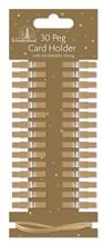 Pack Of 30 Modern Christmas Card Holder Pegs & 3m Metallic String - Plain Gold