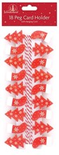 Pack Of 18 Novelty Christmas Card Holder Pegs & Hanging Cord - Trees & Stockings
